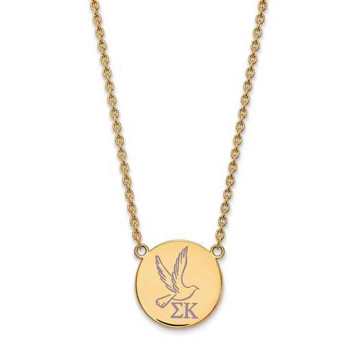 GP045SKP-18: SS w/GP LogoArt Sigma Kappa Large Enl Pend w/Necklace