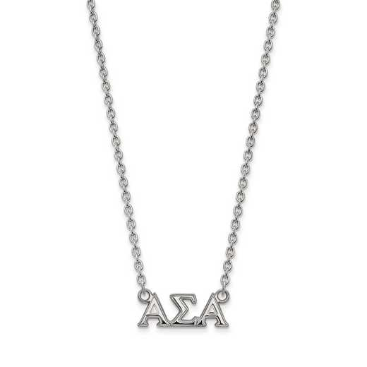 SS007ASI-18: SS LogoArt Alpha Sigma Alpha Medium Pend w/Necklace