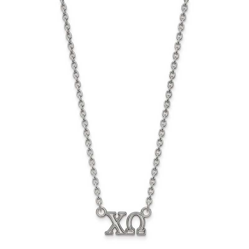 SS007CHO-18: SS LogoArt Chi Omega Medium Pend w/Necklace