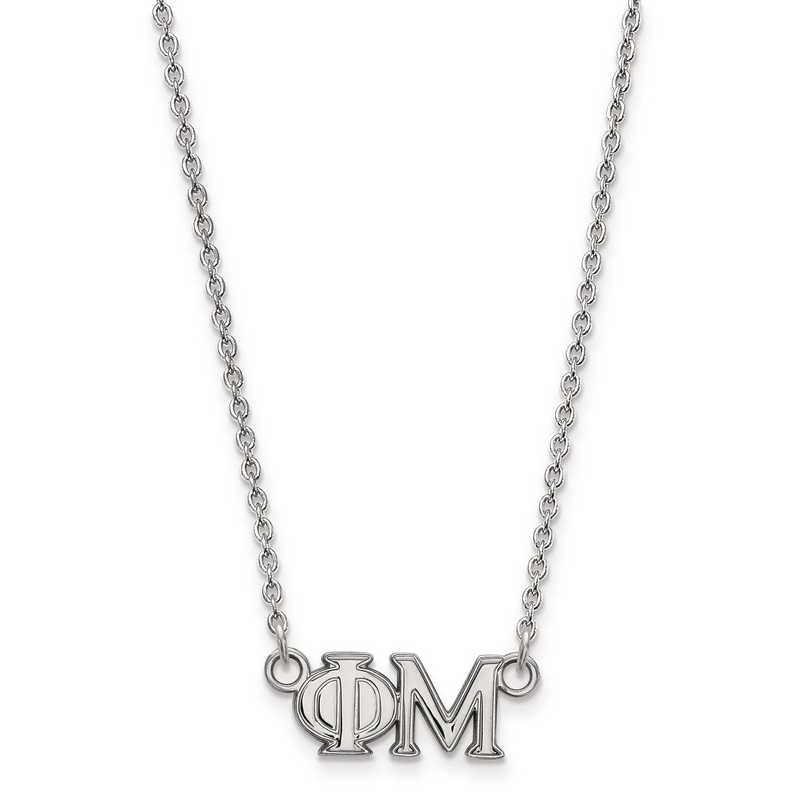 SS007PHM-18: SS LogoArt Phi Mu Medium Pend w/Necklace
