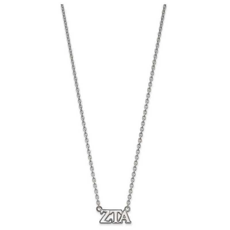 SS007ZTA-18: SS LogoArt Zeta Tau Alpha Medium Pend w/Necklace