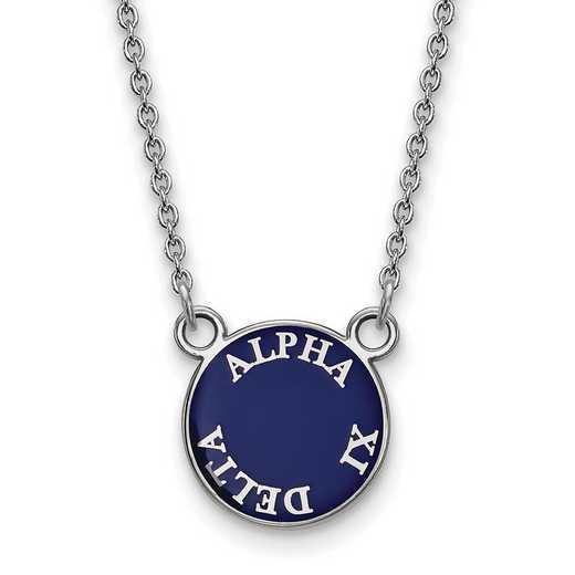 SS012AXD-18: SS Rh-plated LogoArt Alpha Xi Delta Sm Enml Pend w/Necklace