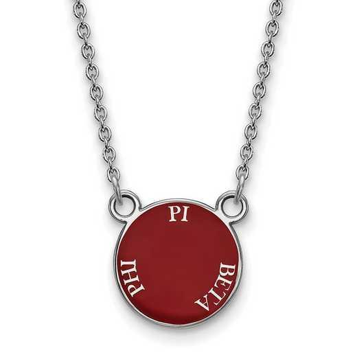 SS012PBP-18: SS Rh-plated LogoArt Pi Beta Phi Sm Enamel Pend w/Necklace