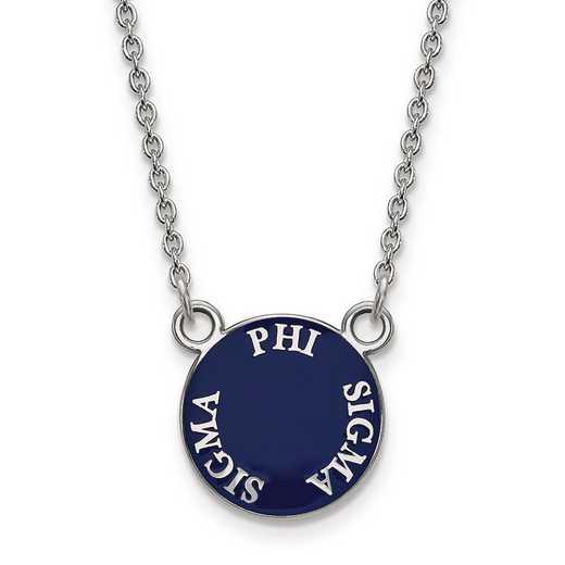 SS012PSS-18: SS Rh-plated LogoArt Phi Sigma Sigma Sm Enml Pend w/Necklace