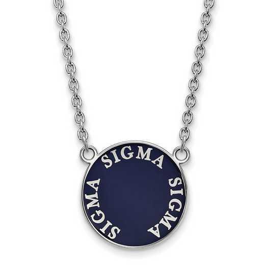 SS013SSS-18: SS Rh-plated LogoArt Sigma Sigma Sigma Large Enl Pend w/Neck