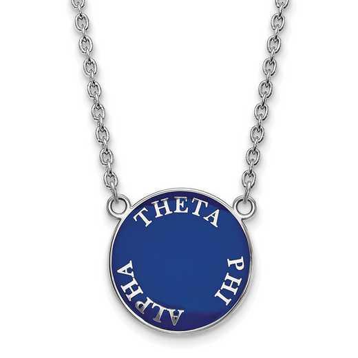 SS013TPA-18: SS Rh-plated LogoArt Theta Phi Alpha Large Enml Pend w/Neck