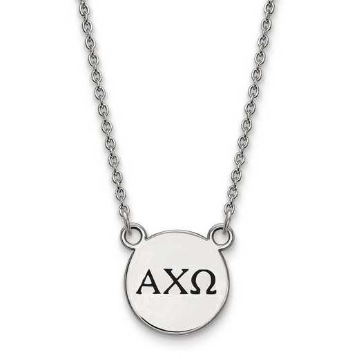 SS016ACO-18: SS LogoArt Alpha Chi Omega Small Enl Pend w/Necklace