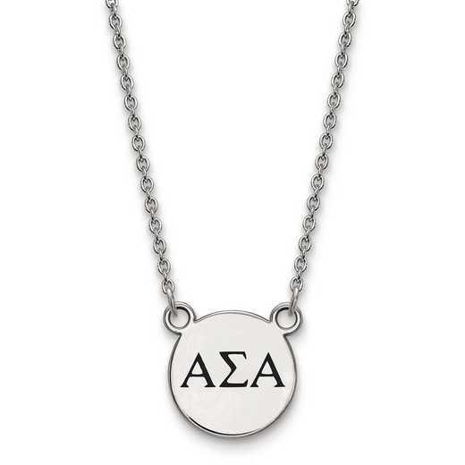 SS016ASI-18: SS LogoArt Alpha Sigma Alpha Sm Enl Pend w/Necklace