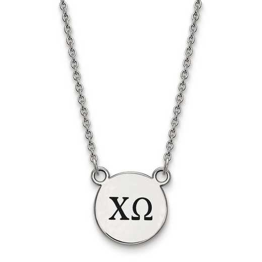 SS016CHO-18: SS LogoArt Chi Omega Sm Enl Pend w/Necklace