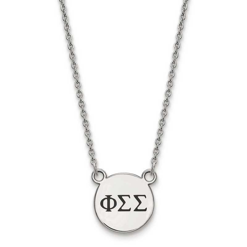 SS016PSS-18: SS LogoArt Phi Sigma Sigma Sm Enl Pend w/Necklace
