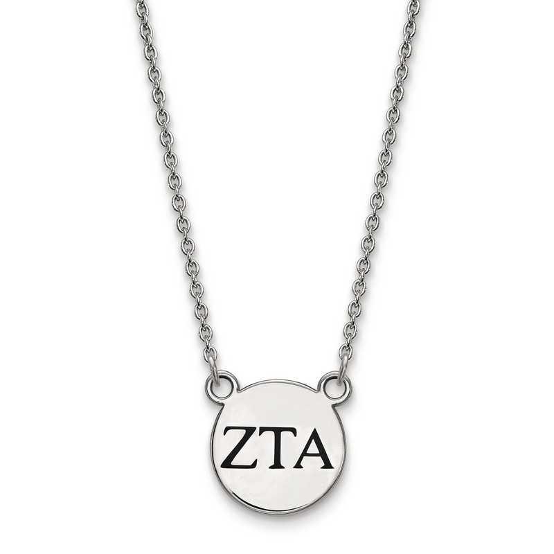 SS016ZTA-18: SS LogoArt Zeta Tau Alpha Sm Enl Pend w/Necklace