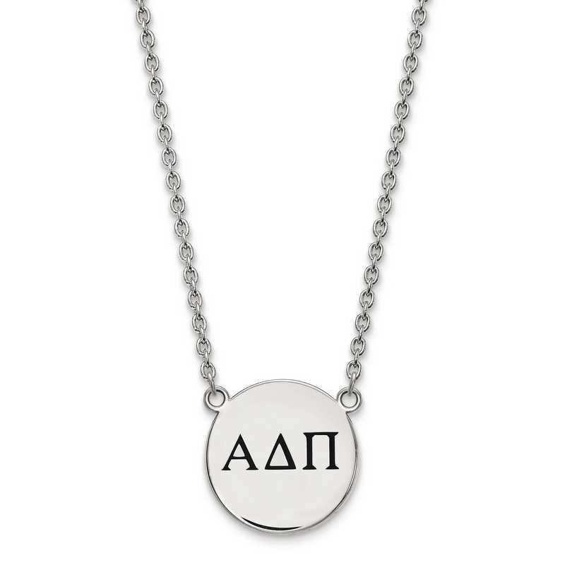 SS017ADP-18: SS LogoArt Alpha Delta Pi Small Enl Pend w/Necklace