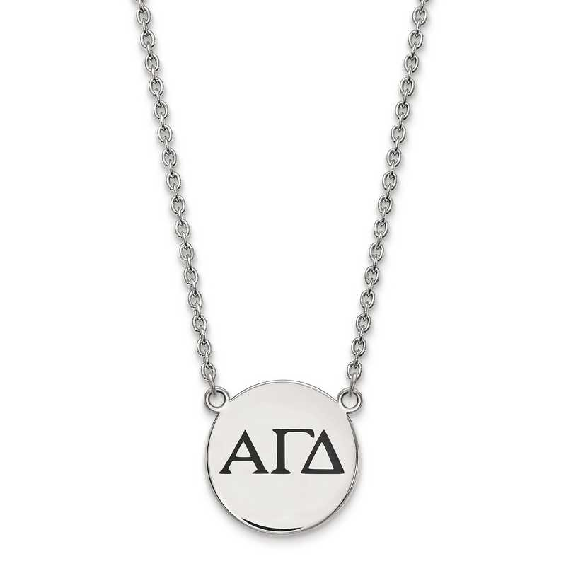 SS017AGD-18: SS LogoArt Alpha Gamma Delta Small Enl Pend w/Necklace