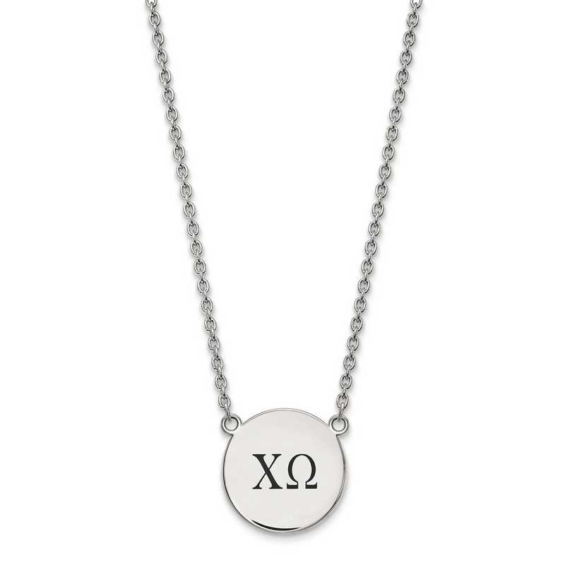 SS017CHO-18: SS LogoArt Chi Omega Large Enl Pend w/Necklace