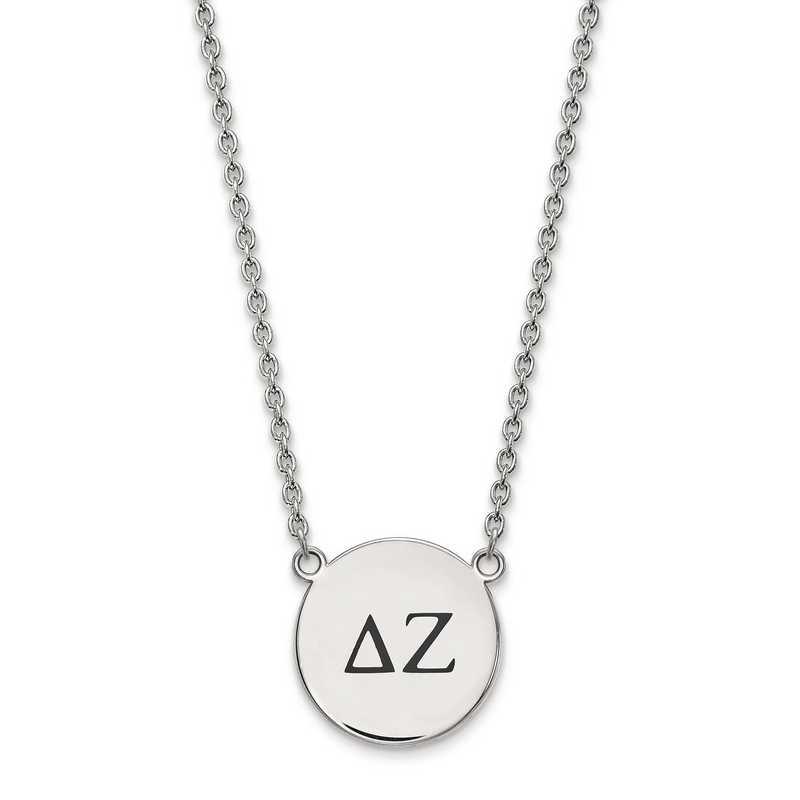 SS017DZ-18: SS LogoArt Delta Zeta Large Enl Pend w/Necklace