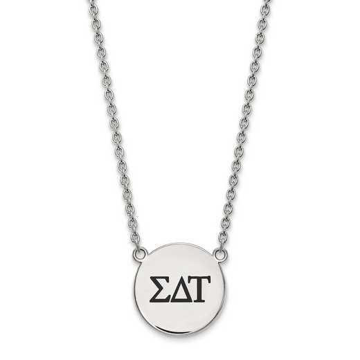 SS017SDT-18: SS LogoArt Sigma Delta Tau Large Enl Pend w/Necklace