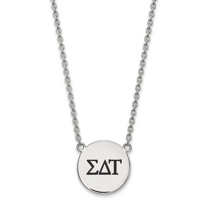 SS017SDT-18: SS LogoArt Sigma Delta Tau Large Enl Pend w/Necklace