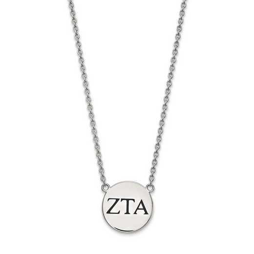SS017ZTA-18: SS LogoArt Zeta Tau Alpha Large Enl Pend w/Necklace