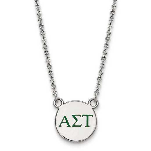 SS027ALS-18: SS LogoArt Alpha Sigma Tau Sm Enl Pend w/Necklace