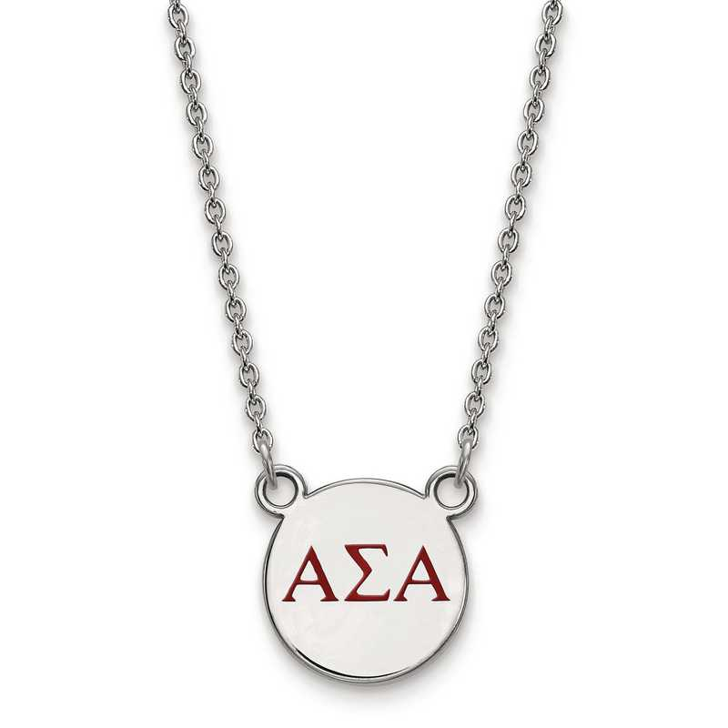 LogoArt Sterling Silver Alpha Sigma Alpha Small Pendant Chain Included