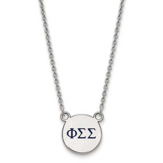 SS027PSS-18: SS LogoArt Phi Sigma Sigma Sm Enl Pend w/Necklace