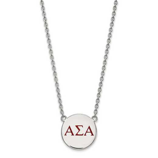 SS028ASI-18: SS LogoArt Alpha Sigma Alpha Large Enl Pend w/Necklace