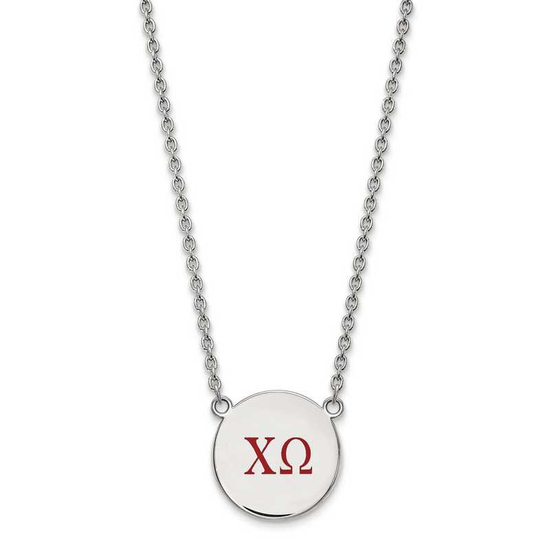 SS028CHO-18: SS LogoArt Chi Omega Large Enl Pend w/Necklace