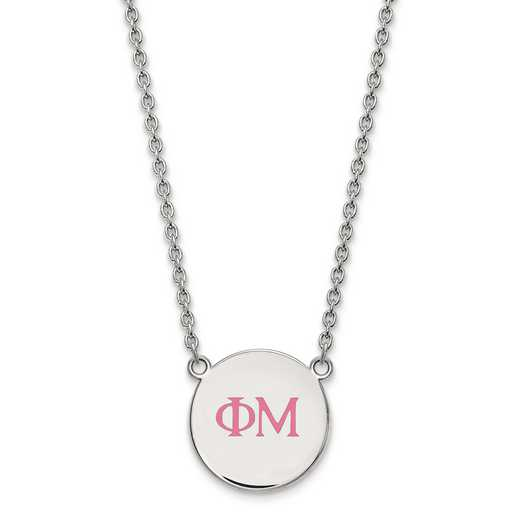 SS028PHM-18: SS LogoArt Phi Mu Small Enl Pend w/Necklace