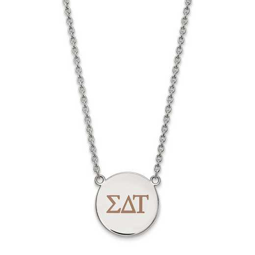 SS028SDT-18: SS LogoArt Sigma Delta Tau Large Enl Pend w/Necklace