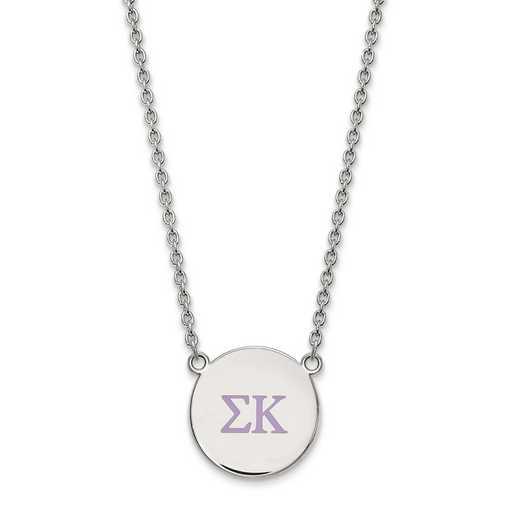 SS028SKP-18: SS LogoArt Sigma Kappa Large Enl Pend w/Necklace