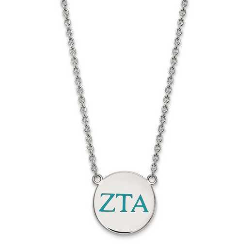 SS028ZTA-18: SS LogoArt Zeta Tau Alpha Large Enl Pend w/Necklace