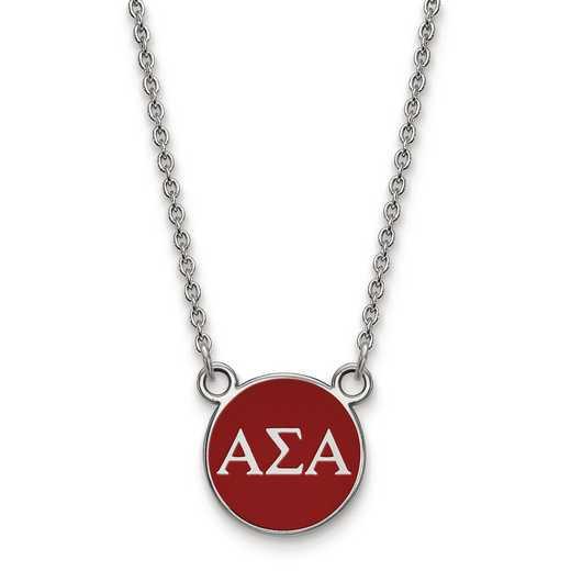 SS029ASI-18: SS LogoArt Alpha Sigma Alpha Sm Enl Pend w/Necklace