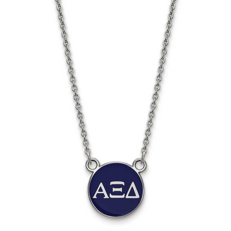 SS029AXD-18: SS LogoArt Alpha Xi Delta Sm Enl Pend w/Necklace