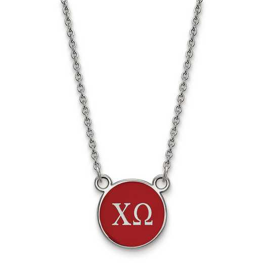 SS029CHO-18: SS LogoArt Chi Omega Sm Enl Pend w/Necklace