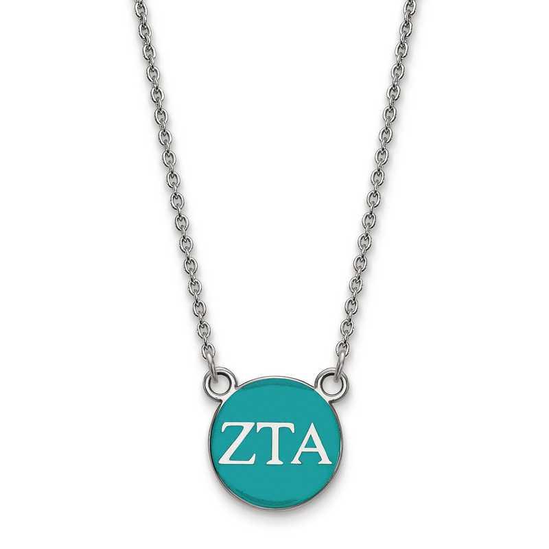 SS029ZTA-18: SS LogoArt Zeta Tau Alpha Sm Enl Pend w/Necklace