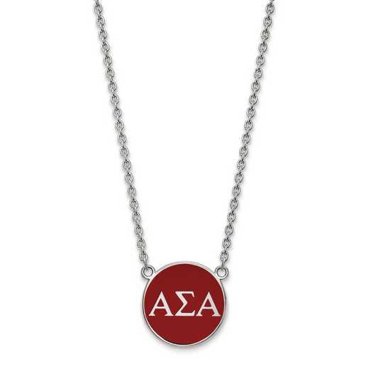 SS030ASI-18: SS LogoArt Alpha Sigma Alpha Large Enl Pend w/Necklace