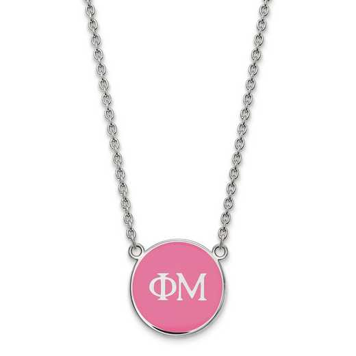 SS030PHM-18: SS LogoArt Phi Mu Small Enl Pend w/Necklace