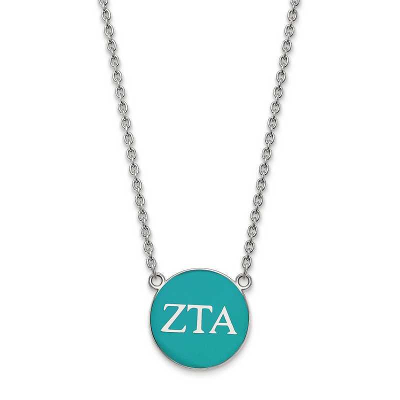 SS030ZTA-18: SS LogoArt Zeta Tau Alpha Large Enl Pend w/Necklace