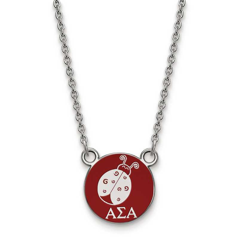 SS042ASI-18: SS LogoArt Alpha Sigma Alpha Sm Enl Pend w/Necklace
