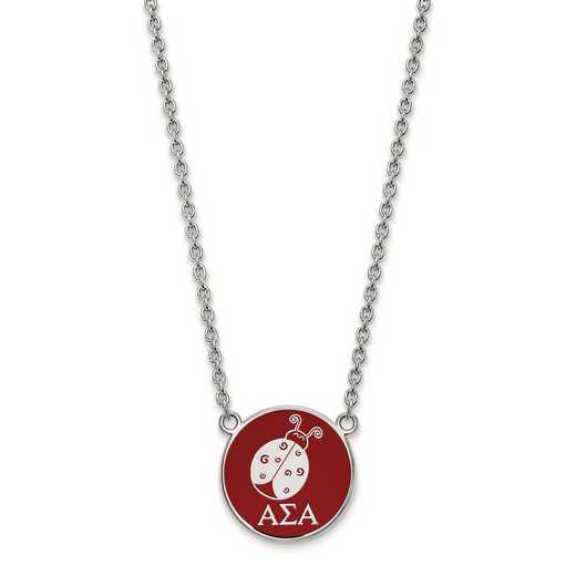 SS043ASI-18: SS LogoArt Alpha Sigma Alpha Large Enl Pend w/Necklace