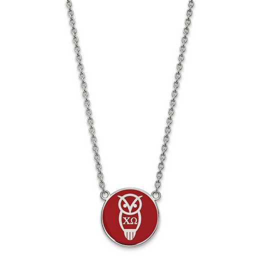 SS043CHO-18: SS LogoArt Chi Omega Large Enl Pend w/Necklace