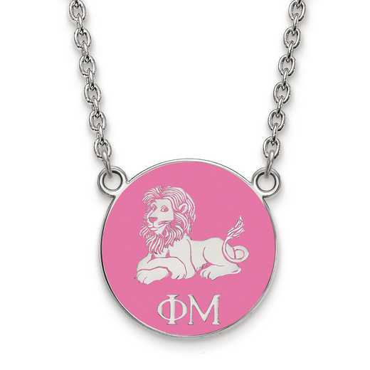 SS043PHM-18: SS LogoArt Phi Mu Small Enl Pend w/Necklace