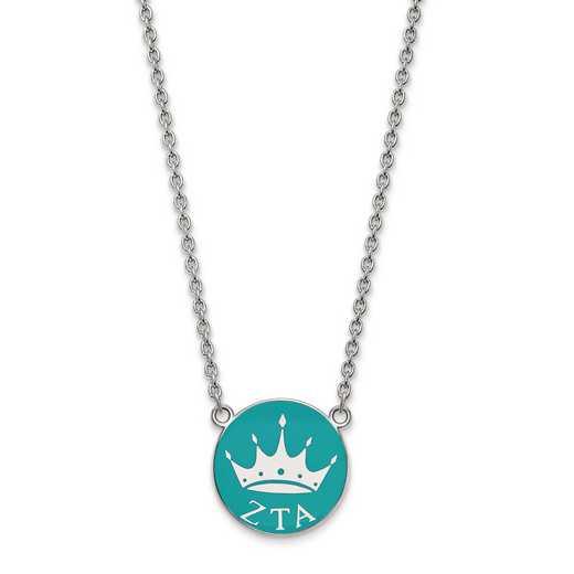 SS043ZTA-18: SS LogoArt Zeta Tau Alpha Large Enl Pend w/Necklace