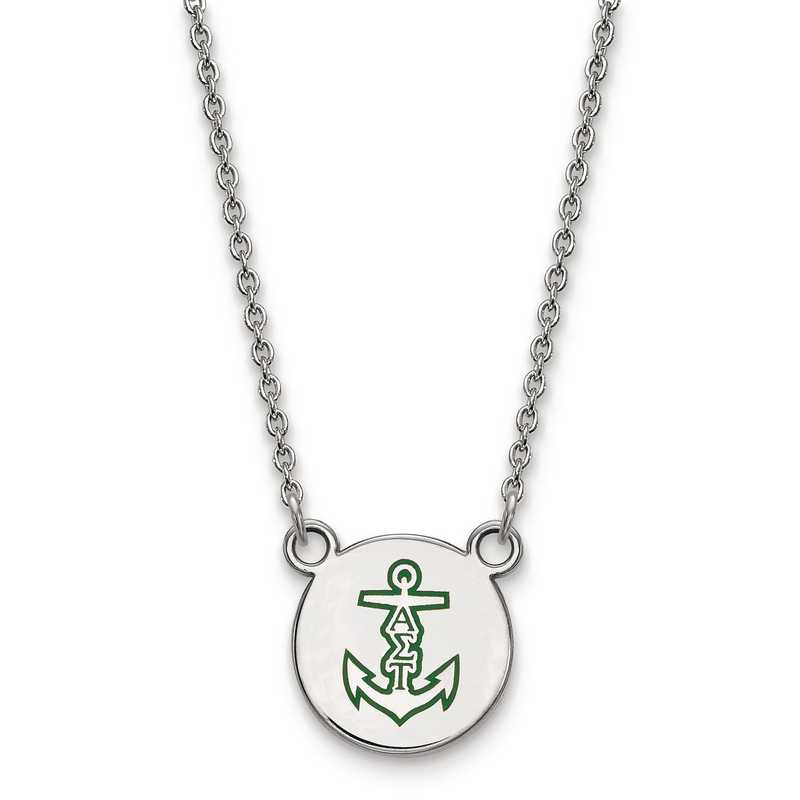 SS044ALS-18: SS LogoArt Alpha Sigma Tau Sm Enl Pend w/Necklace