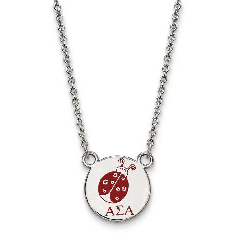 SS044ASI-18: SS LogoArt Alpha Sigma Alpha Sm Enl Pend w/Necklace