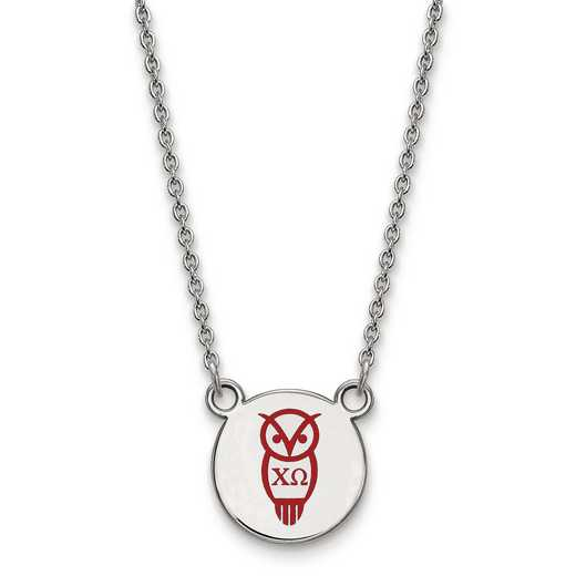 SS044CHO-18: SS LogoArt Chi Omega Sm Enl Pend w/Necklace