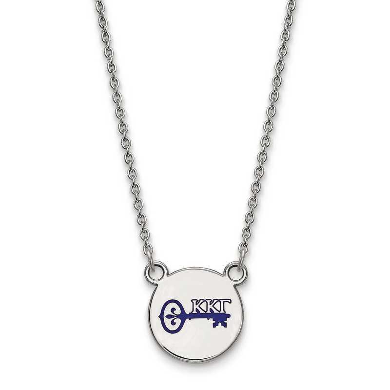 Sterling Silver Rh-plated LogoArt Kappa Kappa Gamma Heart Pendant Sterling Silver