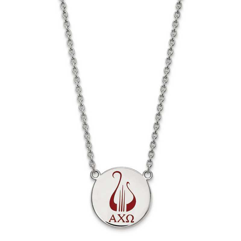 SS045ACO-18: SS LogoArt Alpha Chi Omega Large Enl Pend w/Necklace