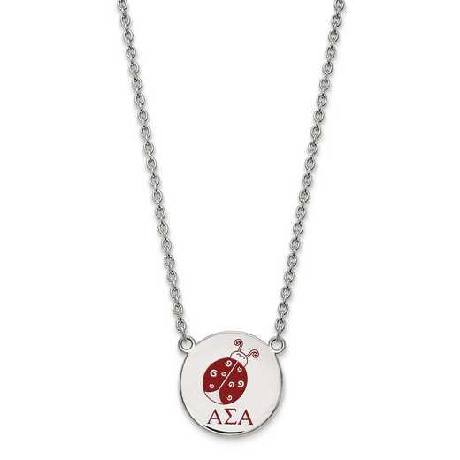 SS045ASI-18: SS LogoArt Alpha Sigma Alpha Large Enl Pend w/Necklace