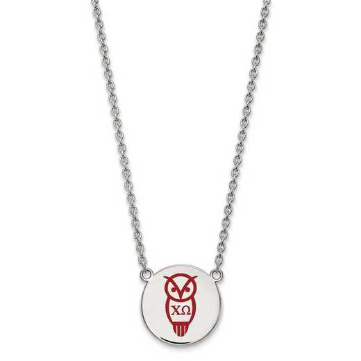 SS045CHO-18: SS LogoArt Chi Omega Large Enl Pend w/Necklace